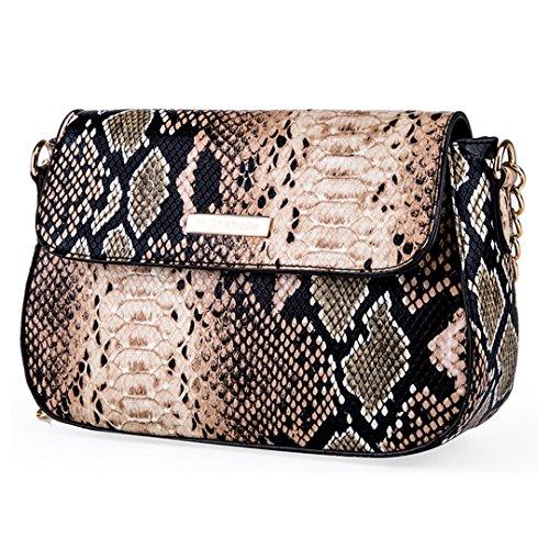 - CLARA Women Fashion Snakeskin Pattern Shoulder Bag PU Leather Crossbody Bag Small Satchel Purse Brown