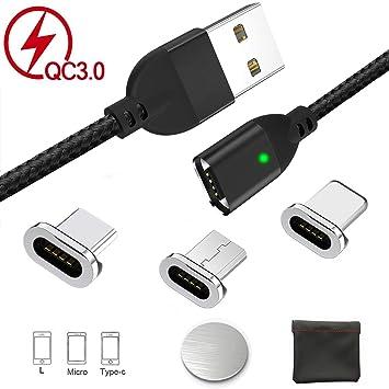 Cable magnético de carga USB, carga rápida y datos de sincronización Micro USB Tipo C Iluminación Adaptadores de carga, cargador de cable múltiple QC ...