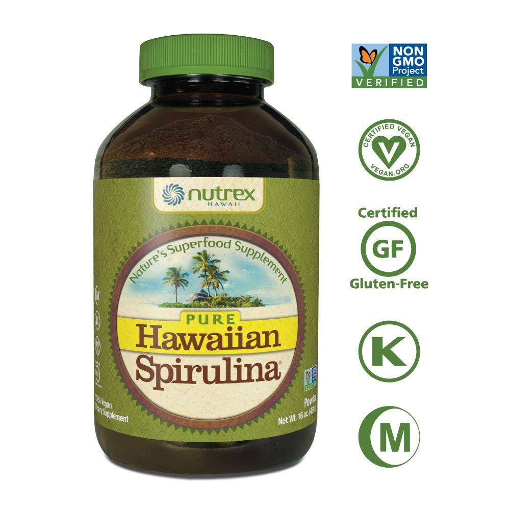 Pure Hawaiian Spirulina Powder 16 Ounce  - Natural Premium Spirulina from Hawaii - Vegan, Non-GMO, Non-Irradiated - Superfood Supplement & Natural Multivitamin by NUTREX HAWAII
