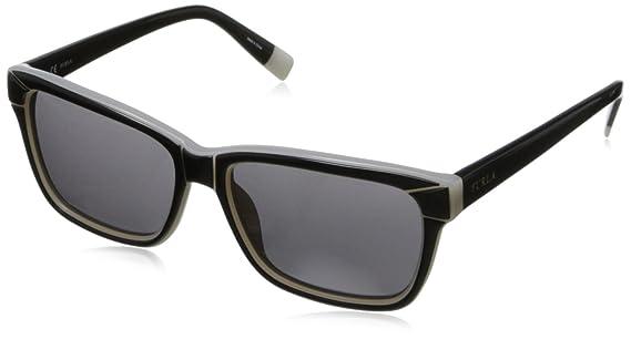 Furla Damen Wayfarer Sonnenbrille Cortina, Gr. One Size, 5509L2 Black & Milky White/Smoke Lens