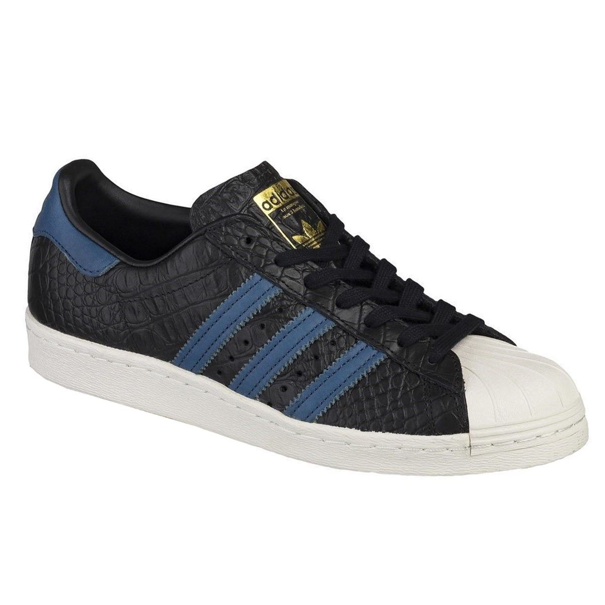 adidas Mens Superstar 80s Black Blue Leather Trainers 40 EU