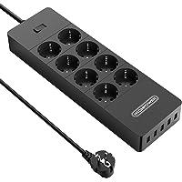 NTONPOWER Stekkerdoos USB, Wandmontage met Meerdere Stopcontacten, 8-Voudige Stopcontactadapter met 5 USB, 4000W 16A…