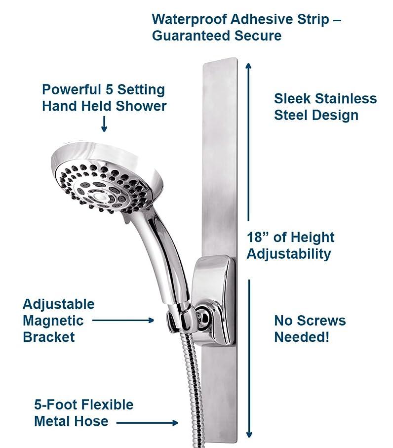 Waterpik VSS-563MT Series Magnetic Slide Strip, Adjustable Height ...