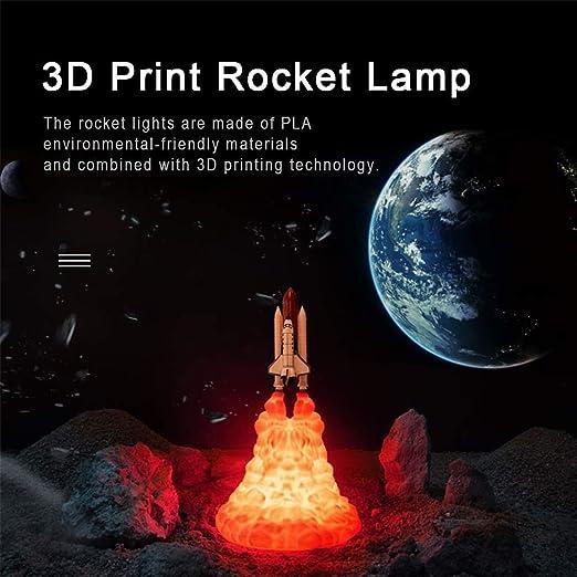 RSDPJ Luz De Cohete 3D Luna Led Lámpara Mesa Transbordador ...