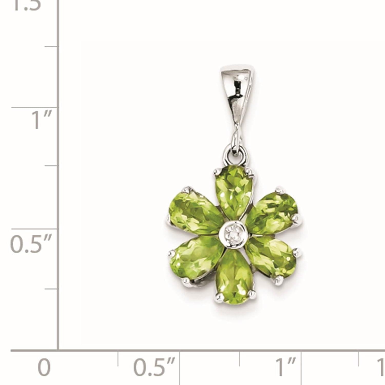 925 Sterling Silver Rhodium-plated Peridot /& Diamond Flower Pendant