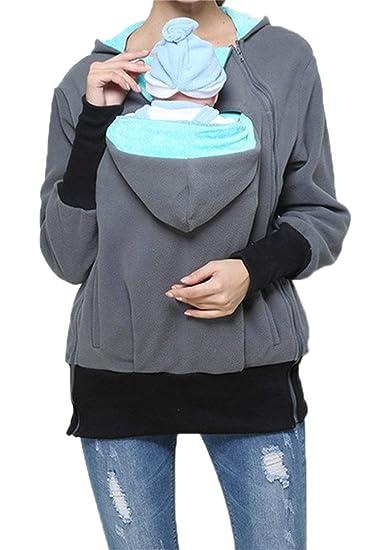 f370d7e0e9e 2 In1 Porte Bébé Femmes Et Bébé Classique Chaud Pull Maman Kangourou  Portant Fonction Sweat Shirts