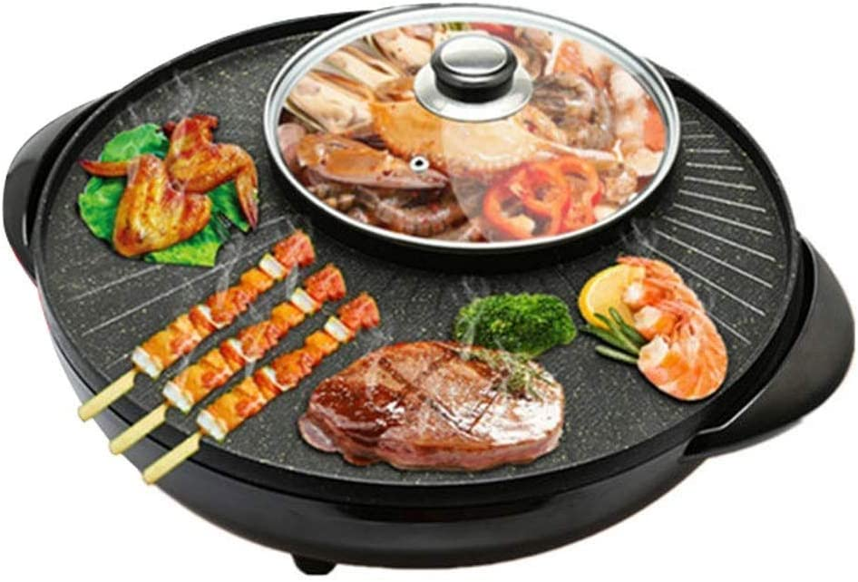 KYL Electric Grill Hot Pot, Barbecue Pot Electric Baking Pan, Electric Oven, Adjustable Temperature Contro, Non-Stick Easy Cleanup