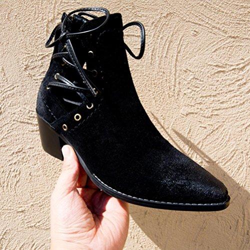 vuota laterale mezza Scarpe stivali donna stivali singoli neri in black tacco QPYC pelle scarpe spazzola stivali con ruvida stivali punta stivali xAS0wWnf