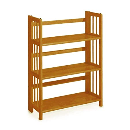 Home Decorators Collection Mission Style 38 x 27.5 Inch Light Oak Folding Stacking Bookcase, 27.5 W, Honey Oak