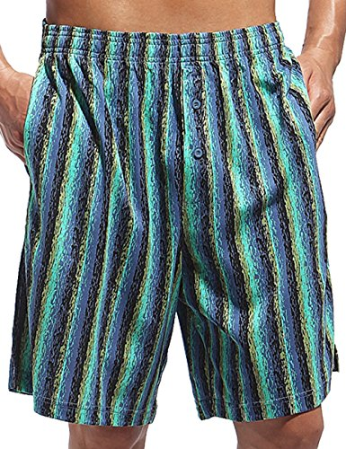 Godsen Mens Cotton Colorful Stripe Sleep Shorts