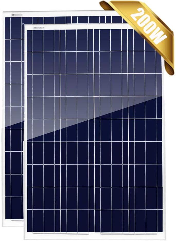 Giosolar Paneles solares policristalinos de 200 W, 12 V, paquete de 2 módulos fotovoltaicos de alta eficiencia, 12 24 voltios, cargador de batería para RV, techo, barco