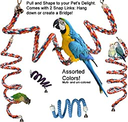 Rainbow Spiral Cotton Rope Bird Perch with Bell - A Favorite Toy for Many Parrots that also provides Great Exercise (X-Large)