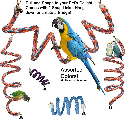 Rainbow Spiral Cotton Rope Bird Perch with Bell - A Favorite Toy for Many Parrots that also provides Great Exercise (X-Large) by Avianweb