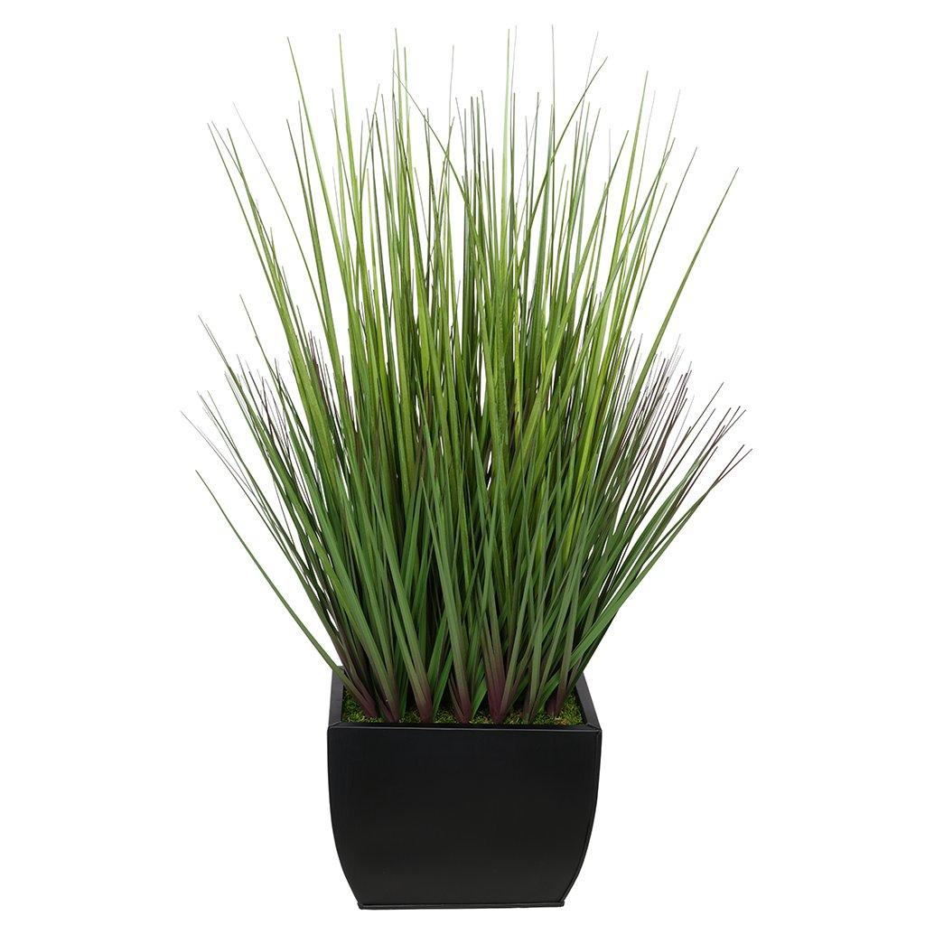 House-of-Silk-Flowers-Artificial-28-inch-Grass-in-Medium-Rectangle-Zinc