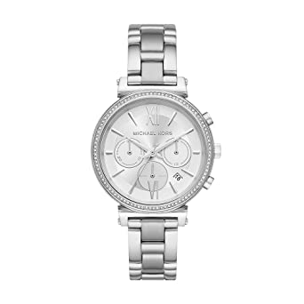 Michael Kors Womens Sofie Quartz Stainless-Steel Strap, Silver, 16 Casual Watch (