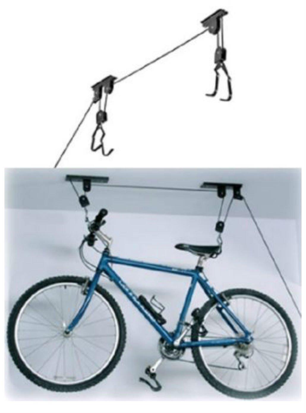 2 PACK Bike Bicycle Lift Ceiling Mounted Hoist Storage Garage Hanger Pulley Rack