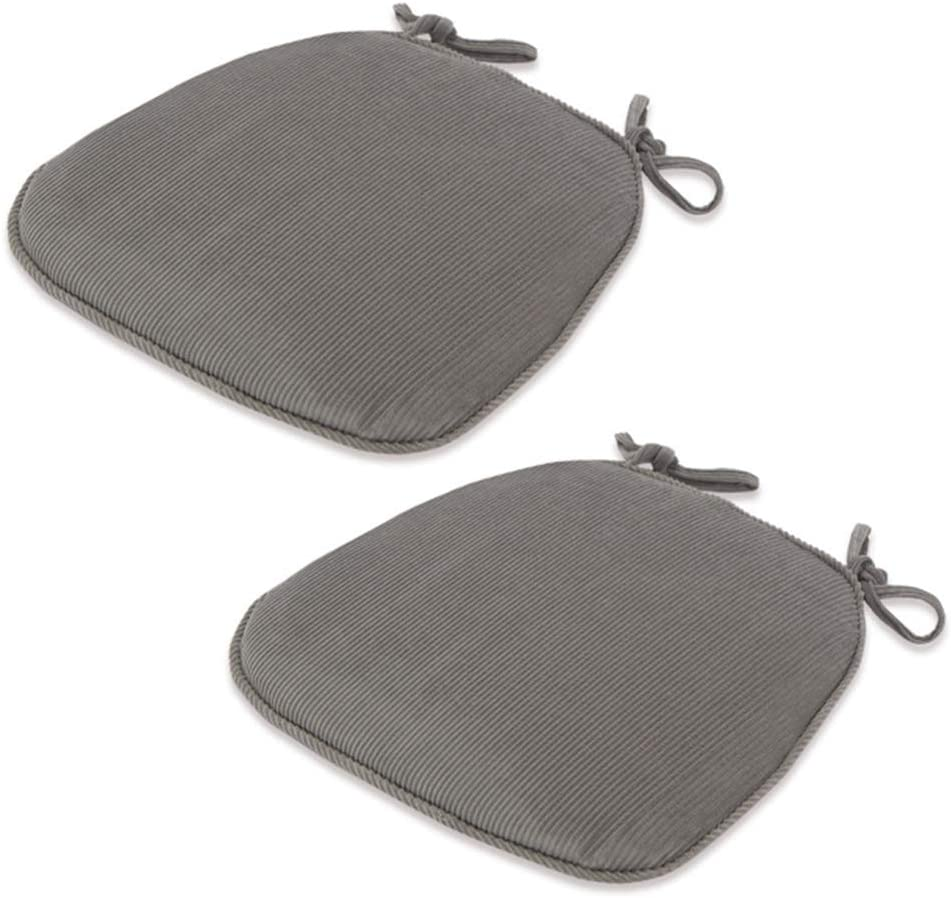 Seat Cushions Square Seat Corduroy Cushion Chair Pads with Ties Non-Slip Chair Pads Removable & Washable Seat Cushions for Home Office Kitchen 17x17 Inch.