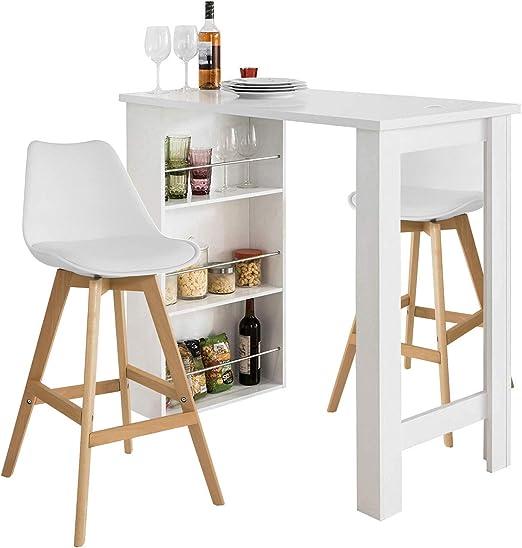 SoBuy® FWT17-W Bartisch Beistelltisch Stehtisch Küchentheke Küchenbartisch  mit 3 Regalfächern Tresen weiß BHT: 112x106,5x57cm