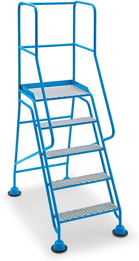 Mobile Escalera con plataforma, 5 niveles, con rejilla, barandilla de entramado – Conducción Bare Plataforma Escaleras de conducción Bare Plataforma Escaleras de conducción Bare Plataforma Escaleras mobile Plataforma Escaleras mobile Plataforma Escaleras