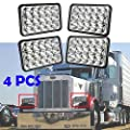 4x6 LED Headlight for Peterbilt 357 / 378 / 379, High and Low Sealed Beam, Rectangular Super Bright Headlamp Replacement Bulbs fits H4651/H4652/H4656/H4666/H6545 - Package of 4