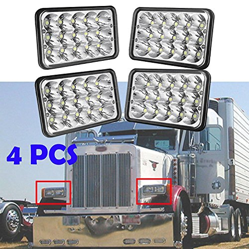 4x6 LED Headlight for Peterbilt 357 / 378 / 379, High and Low Sealed Beam, Rectangular Super Bright Headlamp Replacement Bulbs fits H4651/H4652/H4656/H4666/H6545 - Package of 4 - Peterbilt 379