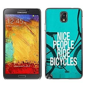 QCASE / Samsung Note 3 N9000 N9002 N9005 / gente agradable paseo bicicletas cotización eco estilo de vida verde / Delgado Negro Plástico caso cubierta Shell Armor Funda Case Cover