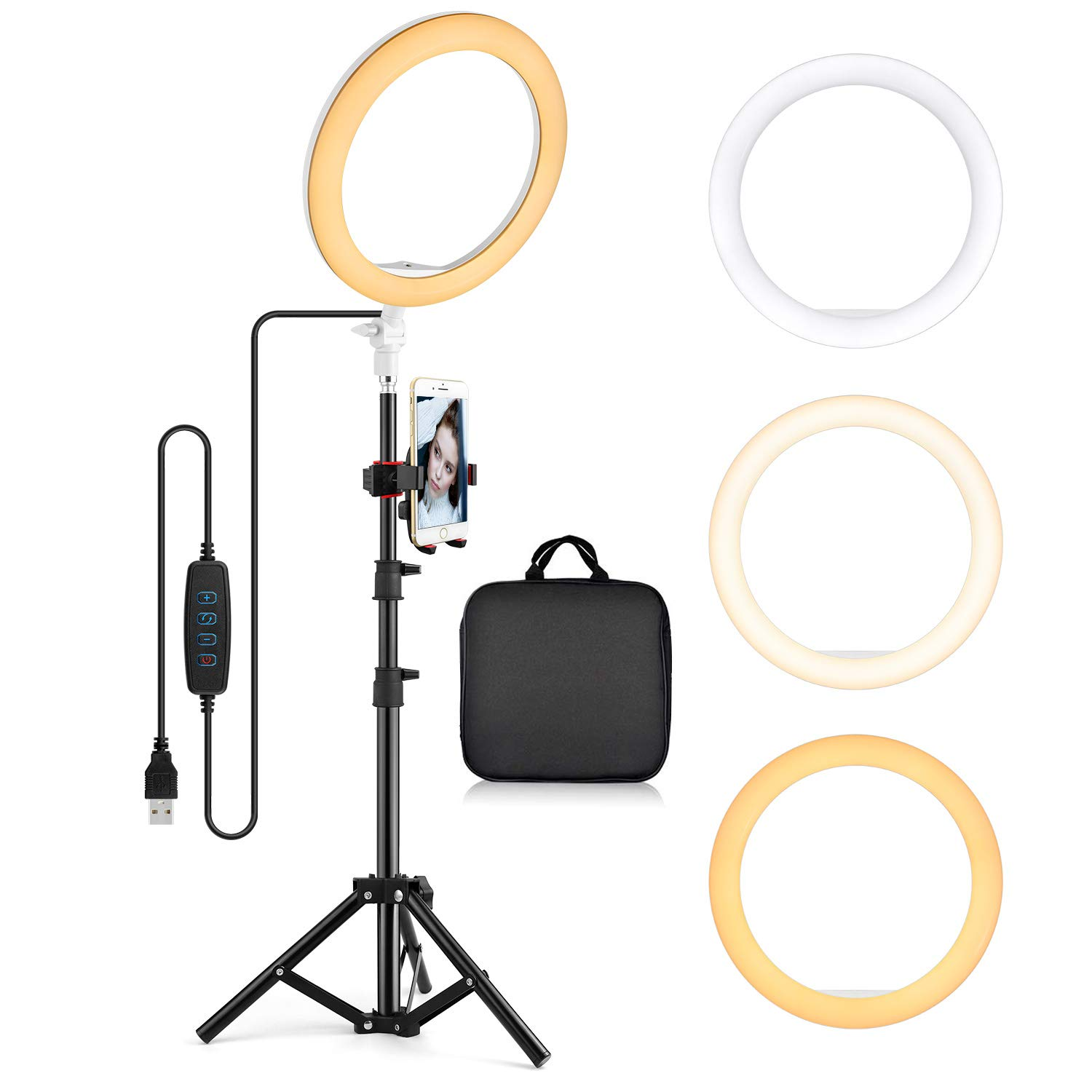 10.2'' Ring Light Desk Tripod Stand with Phone Holder LED Selfie Ringlight Kits Dimmable Desktop Lamp Circle Lights for Photography Makeup Video Laptop YouTube by Old Shark