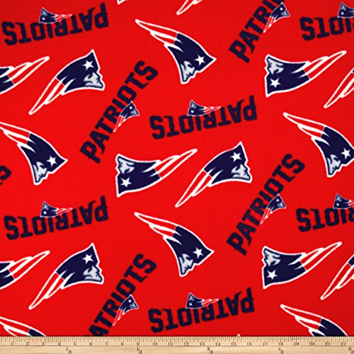 Fabric Traditions 0493997 NFL Fleece New England Patriots Tossed Red Fabric by the Yard