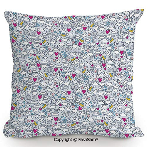 FashSam Home Super Soft Throw Pillow Message Posting Theme Envelopes Mails Carrier Pigeons Pen Pals Ancient Communication for Sofa Couch or Bed(20
