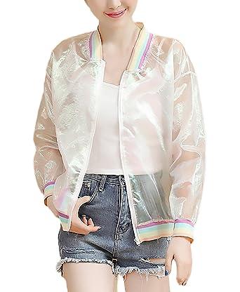 Chaquetas De Mujer Primavera Verano Bomber Jacket Elegantes Transparentes Manga Larga Stand Cuello Con Cremallera Anchas Casual Outdoor Ropa Outerwear ...