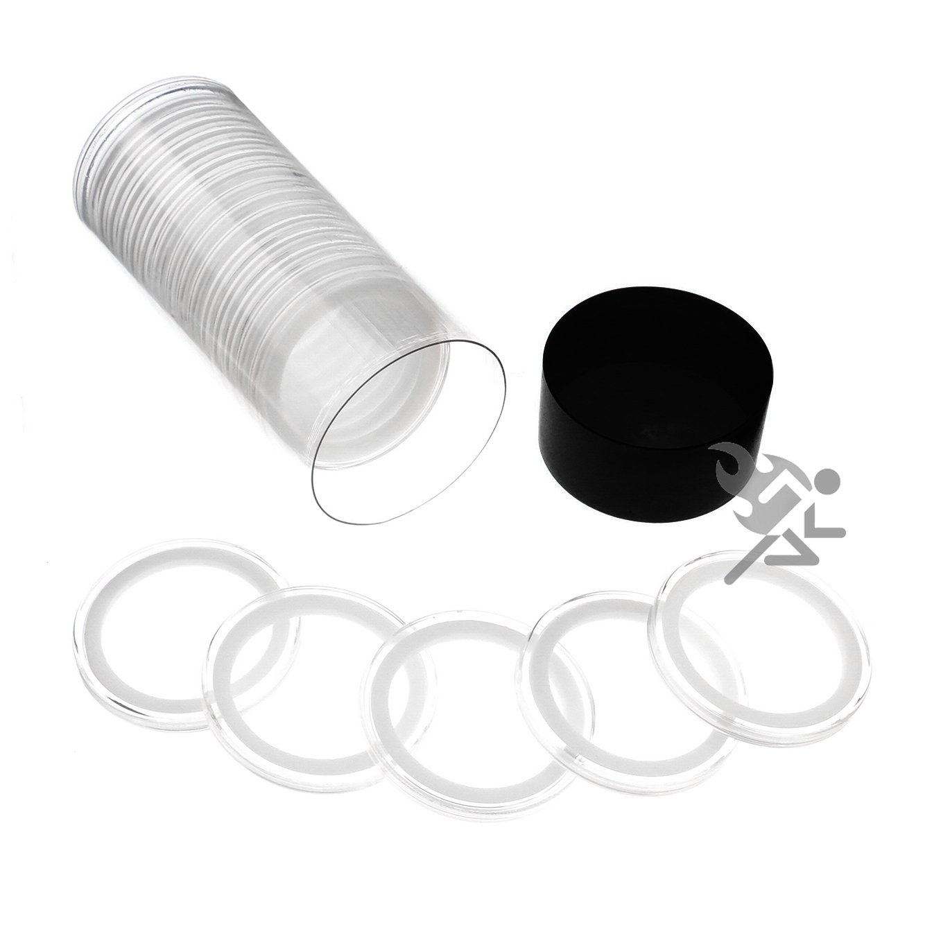 Black Lid Capsule Tube & 20 Air-Tite 39mm White Ring Coin Holders for 1oz Silver Rounds