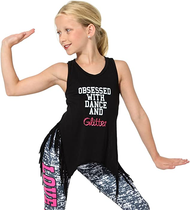 88c5a1e41ddc Amazon.com  Youth Obsessed with Dance Girls Fringe and Glitter Tank ...