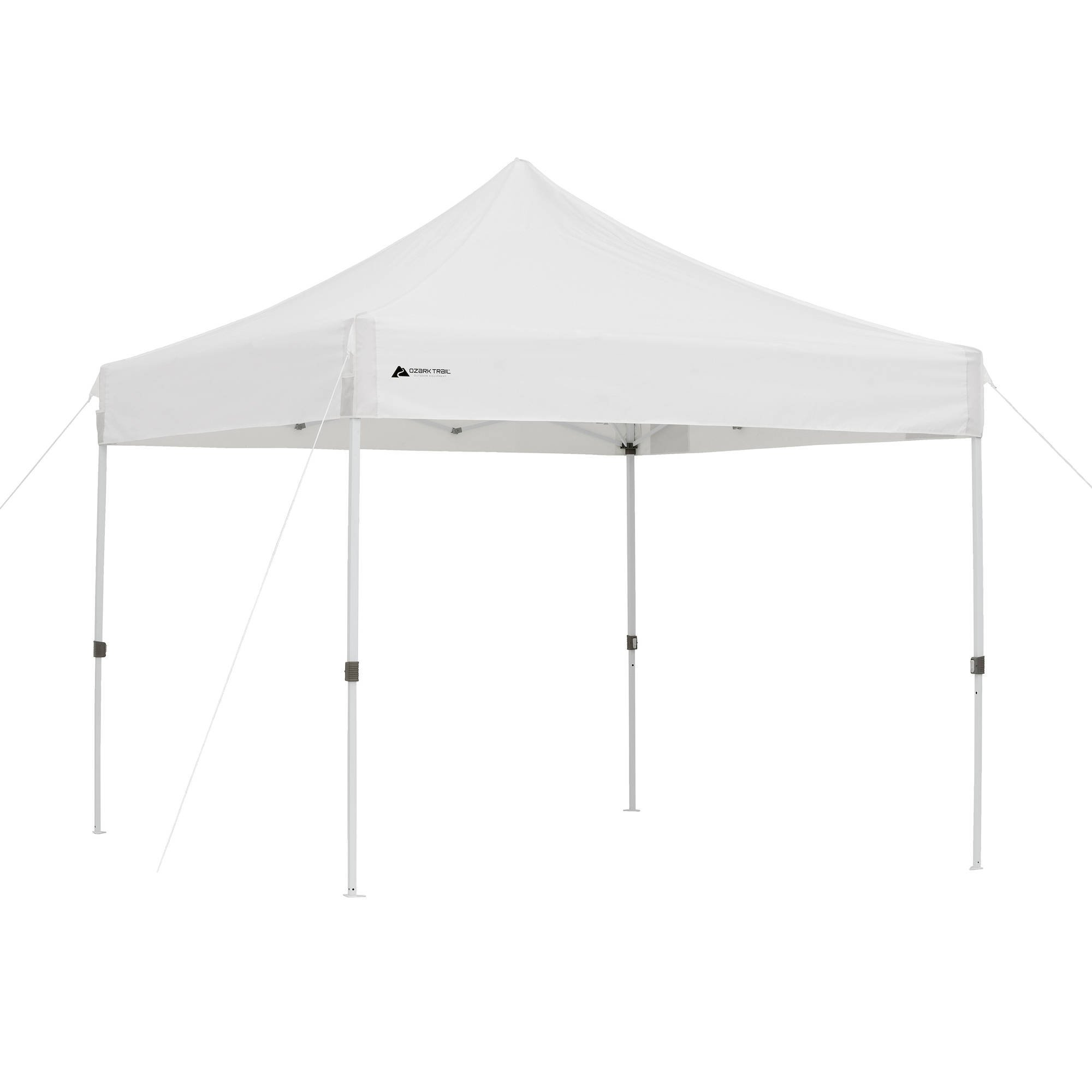 Ozark Trail Instant Set Up 10' x 10', Fast Set Up!, 1-Touch Instant Canopy, White, Provides 50+ UV Protection and 100 square feet of Shade, Heavy-Duty, Long Lasting, and Durable!