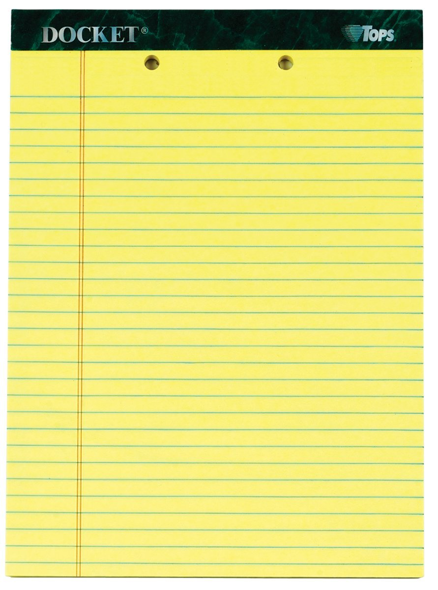 TOPS Docket Writing Tablet, 8-1/2 x 11-3/4 Inches, Perforated, 2-Hole Punched, Canary, Legal/Wide Rule, 50 Sheets per Pad, 12 Pads per Pack (63420)