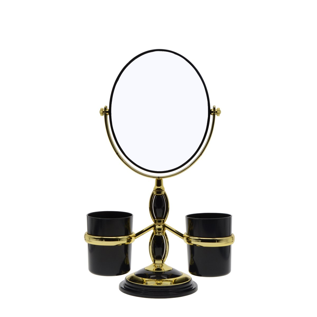 Saim Oval Shaped Double Sided Makeup Mirror, 1X/2X Magnifying Cosmetic Mirror with Two Brush Holders for Women Girls - Black