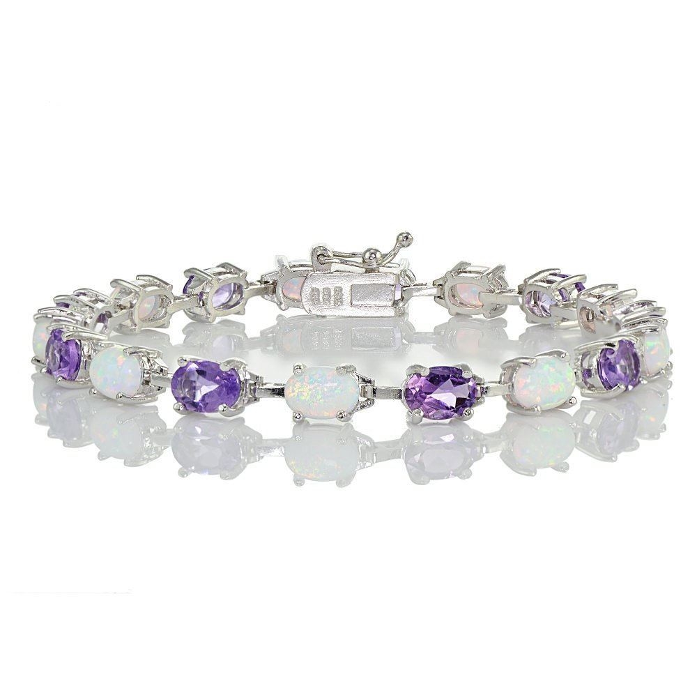 Sterlilng Silver Amethyst and Created White Opal 7x5mm Oval-Cut Tennis Bracelet