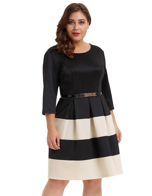 2306d0cb266 Hanna Nikole Women Plus Size Stripe Dress Scoop Neck 3 4 Sleeve Vintage  Belted Dress  Amazon.ca  Clothing   Accessories