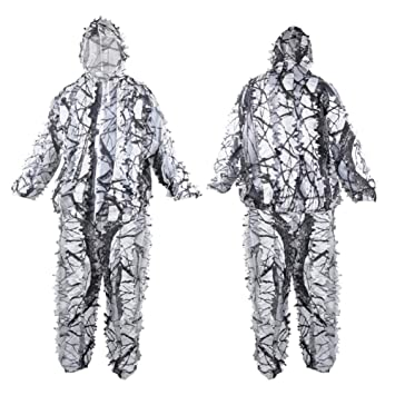 a9d0d66eccbab QINAIDI Winter 3D white snow plum tree branches style camouflage ghillie  suit birdwatch airsoft hunting clothes include jacket and pants:  Amazon.co.uk: ...