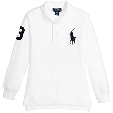 66b8b99381d1 Polo Ralph Lauren Childrens Long Sleeve Top Tee T-Shirt Big Pony White HG89  (M (10-12 Years))  Amazon.co.uk  Clothing