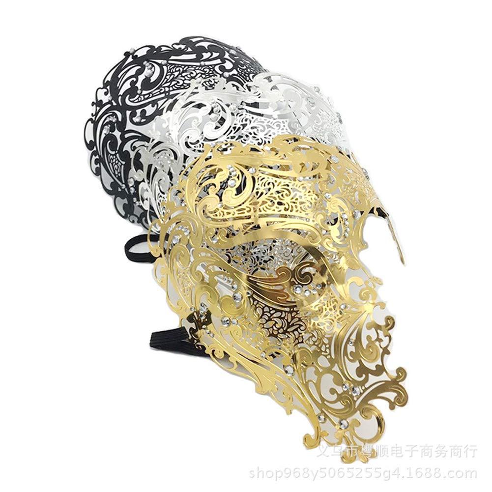 RISILAYS Media Máscara De Halloween, Máscara De Hierro Veneciano, Máscara Monocular, Recorte De Diamantes, Máscara Metálica para Ojos Máscara De Hierro ...