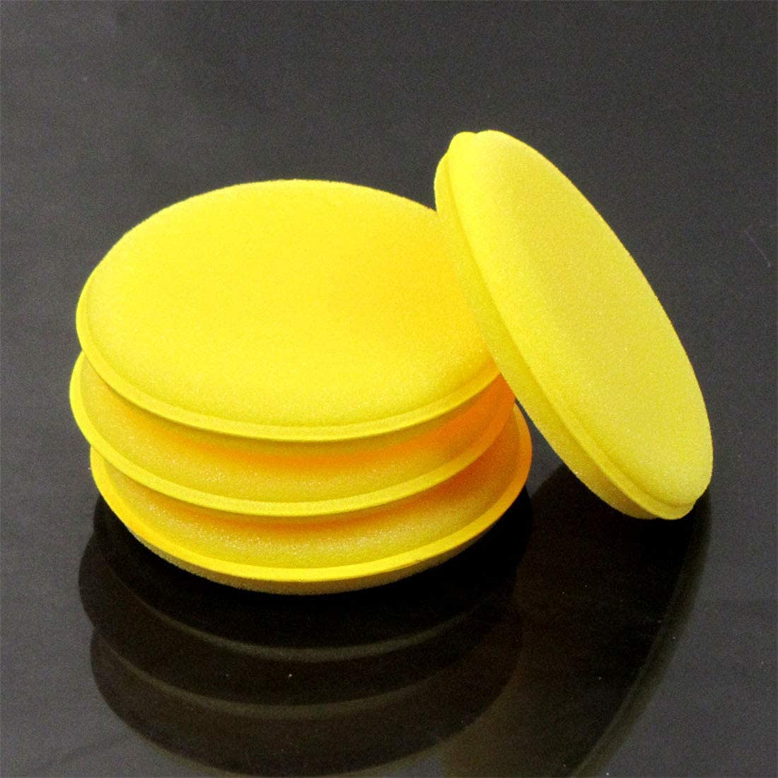 Freahap 12 Pcs Waxing Sponge Round Shaped Sponge Polish Cars Wax Applicator Pad as Picture