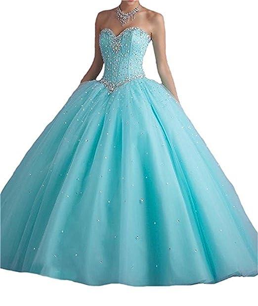 XUYUDITA Sweetheart Prom Long Vestido Quinceanera con Lentejuelas de Cristal Agua Azul-32
