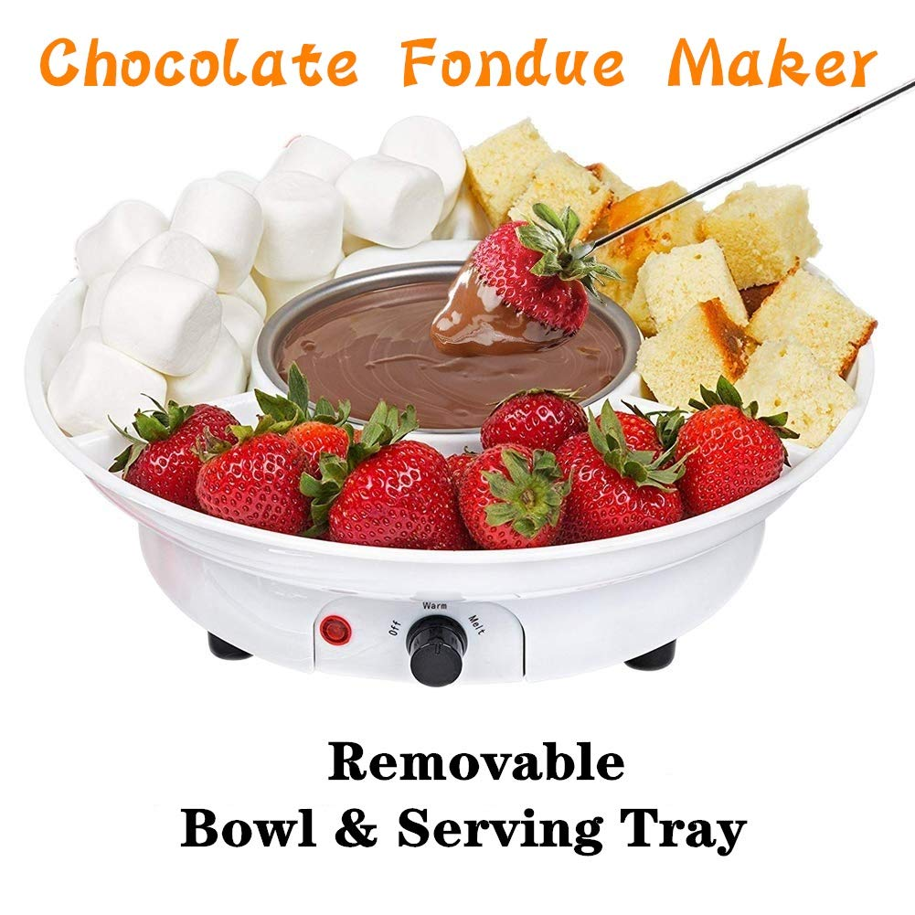 Chocolate Fondue Maker - Electric Chocolate Melting Pot Set with Stainless Steel Bowl, Serving Tray, 10 Fondue Forks by DIY (Image #2)