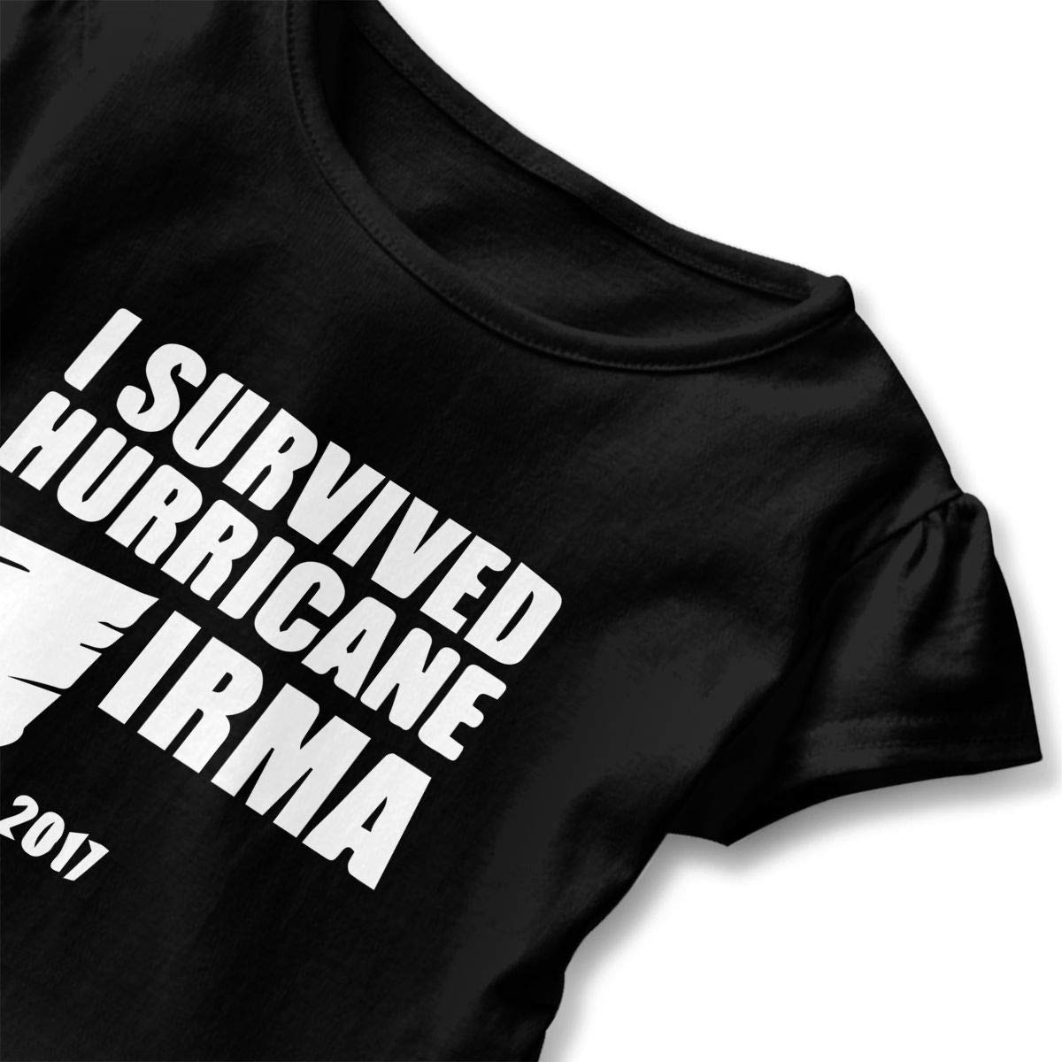 I Survived Hurricane Irma Toddler Girls T Shirt Kids Cotton Short Sleeve Ruffle Tee