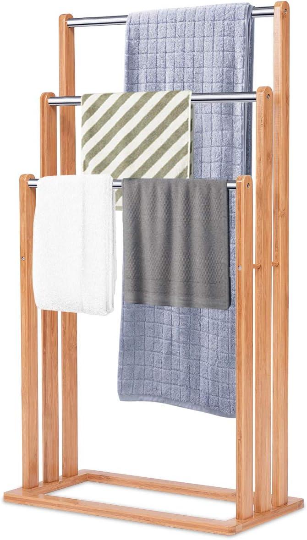 DREAMADE Handtuchständer Handtuchablage Rostfrei Handtuchhalter Handtuchstange aus Bambus und Edelstahl Badetuchstange Badetuchständer mit 3 Stangen