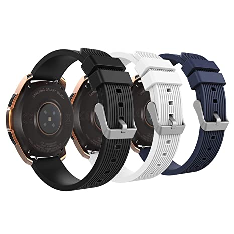 MoKo Band Fit Samsung Galaxy Watch 42mm/Galaxy Watch Active/Active 2/Galaxy Gear S2 Classic/Ticwatch E/2/Vivoactive 3, 3-Pack 20MM Silicone ...