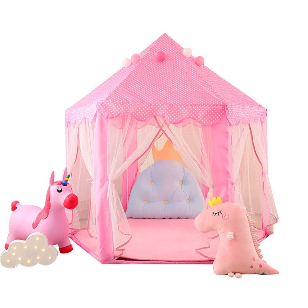 yuandao Princess Tent, Princess Kids Tent, Hexagonal Kids Tent, Hexagonal Fairy Princess Castle, Kids Indoor and Outdoor Play Tent. 55'' x 53''(DxH)(Pink)