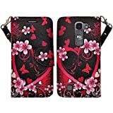 SOGA LG Volt 2 Case, LG Volt 2 Wallet Case - [Pocketbook Series] PU Leather Magnetic Flip Design Wallet Case for LG Volt 2 LS751 C90 / Magna H500F / G4 Mini G4C - Pink Heart With Flower