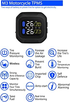 Motorcycle Tire Pressure Monitoring System Super Waterproof Sun Protection System M3 TPMS with 2 Sensors Wireless LCD Display