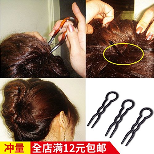 Type Fork (Hair styling tool hairpin plate hair ornament pan head type comb hair fork inserted comb wavy hair fork 3 mounted for women girl lady)